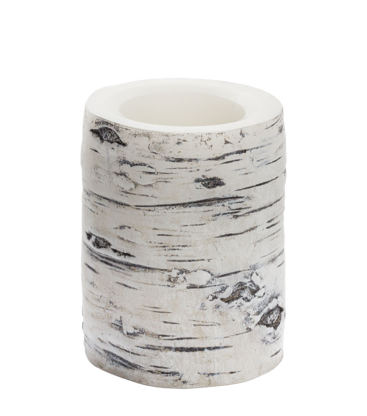 Hudson 43™ Candle & Light Collection 3X4 Wht Birch Bark Pillars With 5 Hour Timer