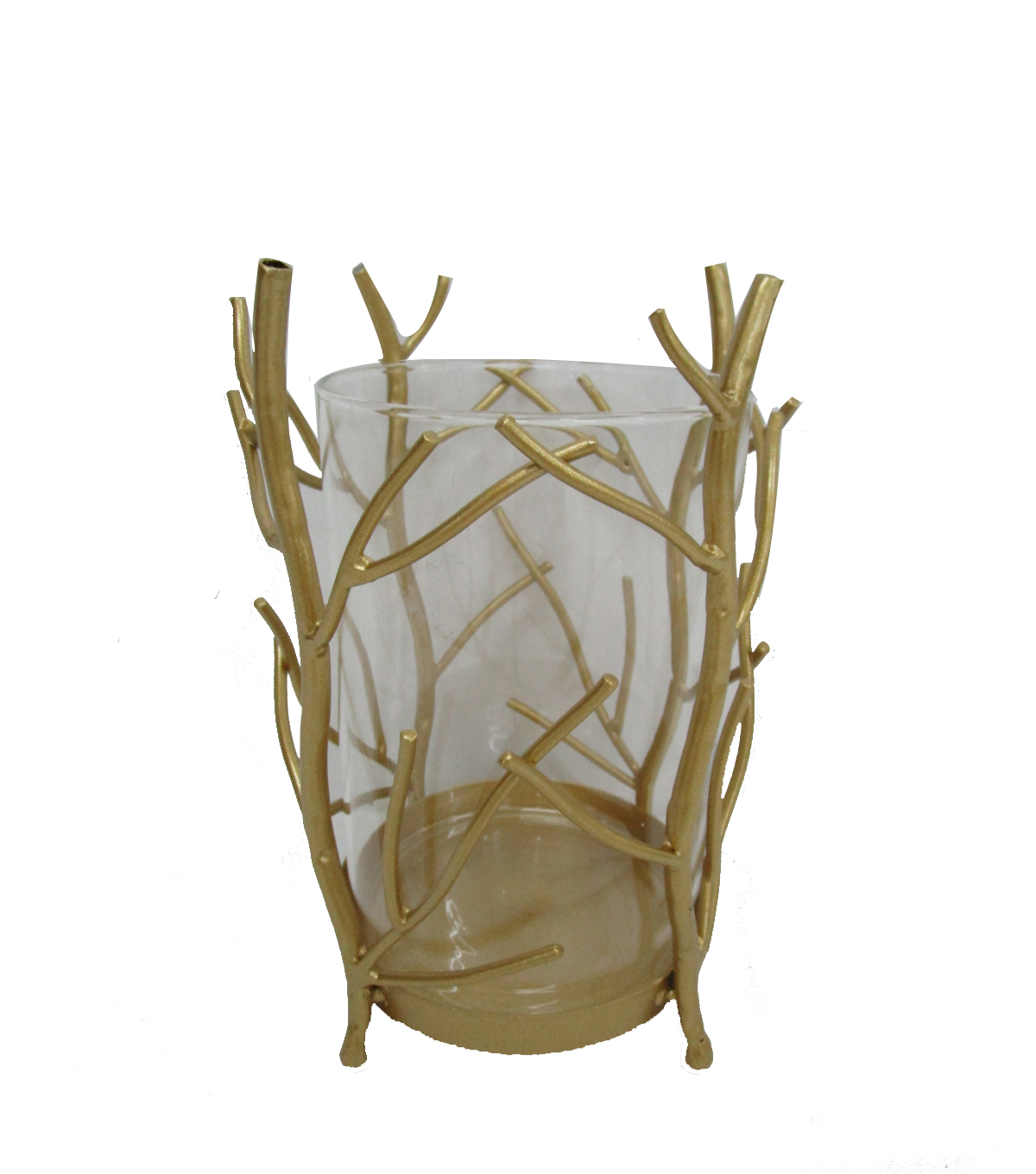 Maker\u0027s Holiday Christmas Arctic Frost Metal Branch Candle Holder-Gold