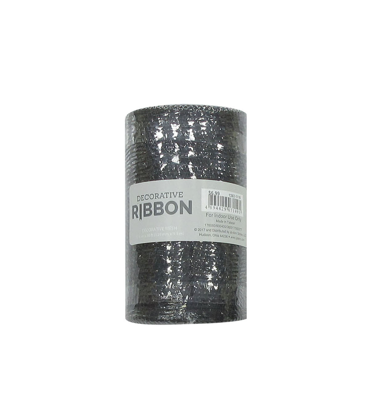 Decorative Ribbon Metallic Deco Mesh 5.5\u0027\u0027x10 yds-Black