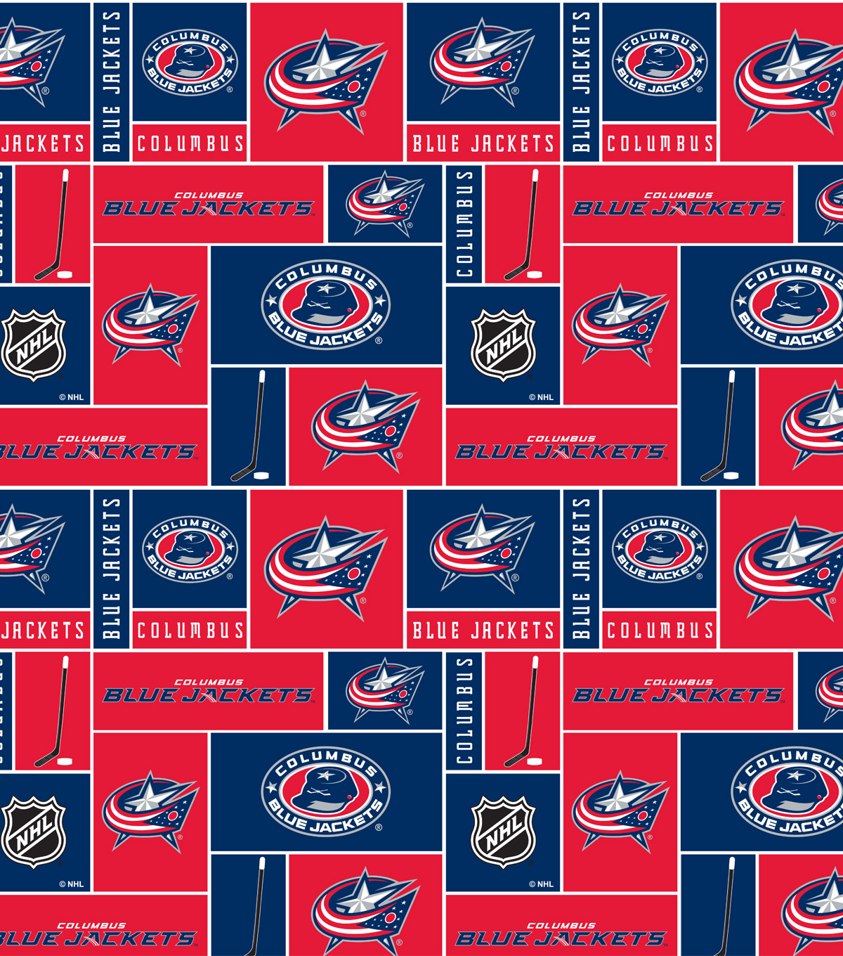 "Columbus Blue Jackets Fleece Fabric 60""-Block"