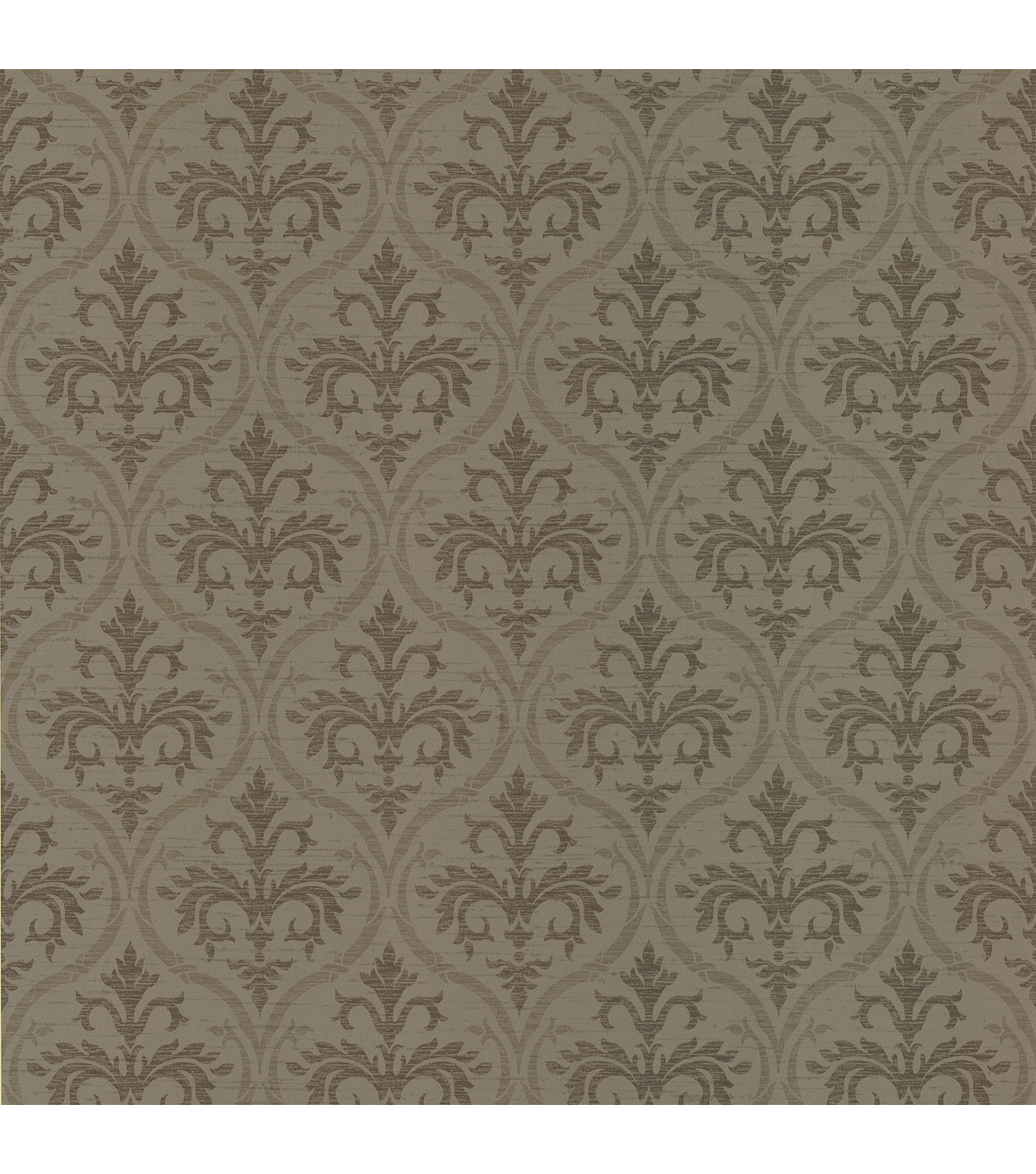 Florence Brown Ogee Damask Wallpaper Sample