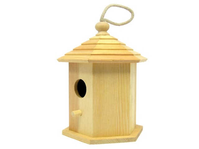 Large Birdhouse Hexagon Roof with Rope