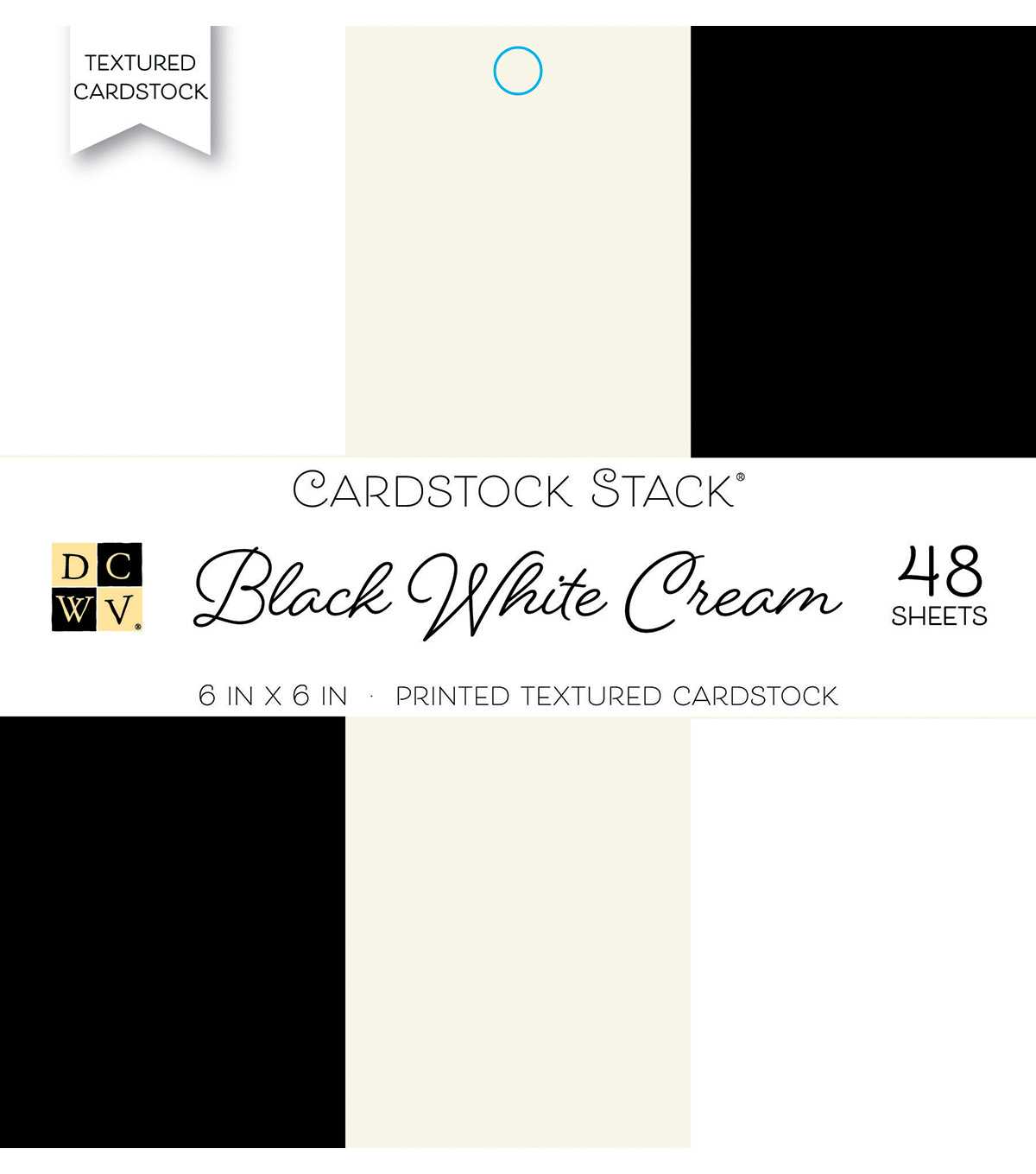 DCWV 48 Pack Printed Textured Cardstock Stack-Black, White & Cream