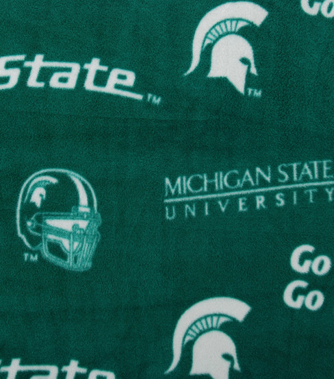 "Michigan State University Spartans Fleece Fabric 58""-Green"