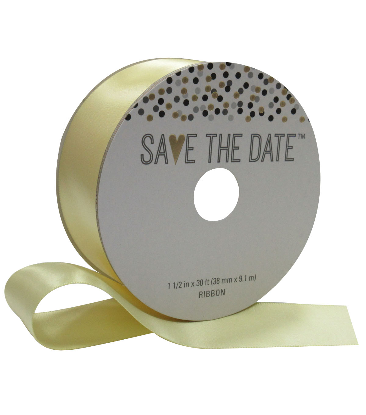 Save the Date 1.5\u0027\u0027 X 30\u0027 Ribbon-Yellow Satin