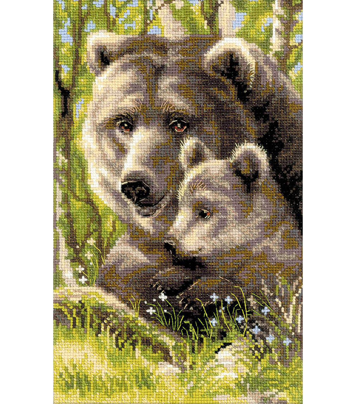 Bear With Cub Counted Cross Stitch Kit 10 Count