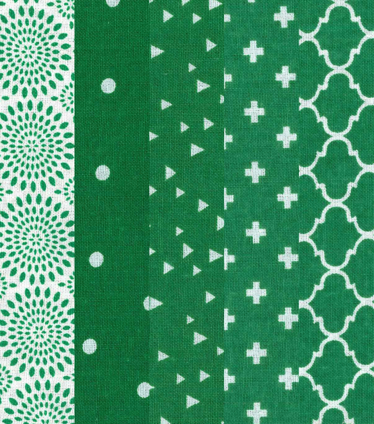 Jelly Roll Cotton Fabric 20 Strips 2.5\u0027\u0027-Assorted Green & White Patterns