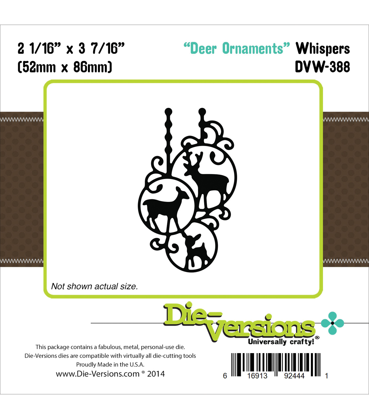 Die-Versions Whispers Die-Deer Ornaments, 2.0625\u0022X3.4375\u0022