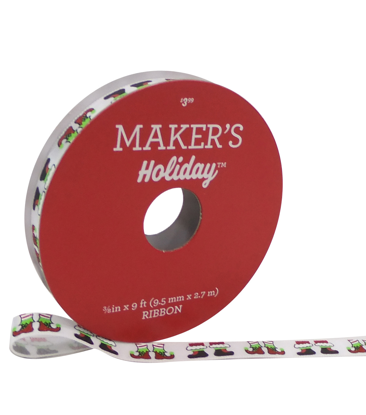 Maker's Holiday Christmas Ribbon 3/8''x9'-Elf Feet