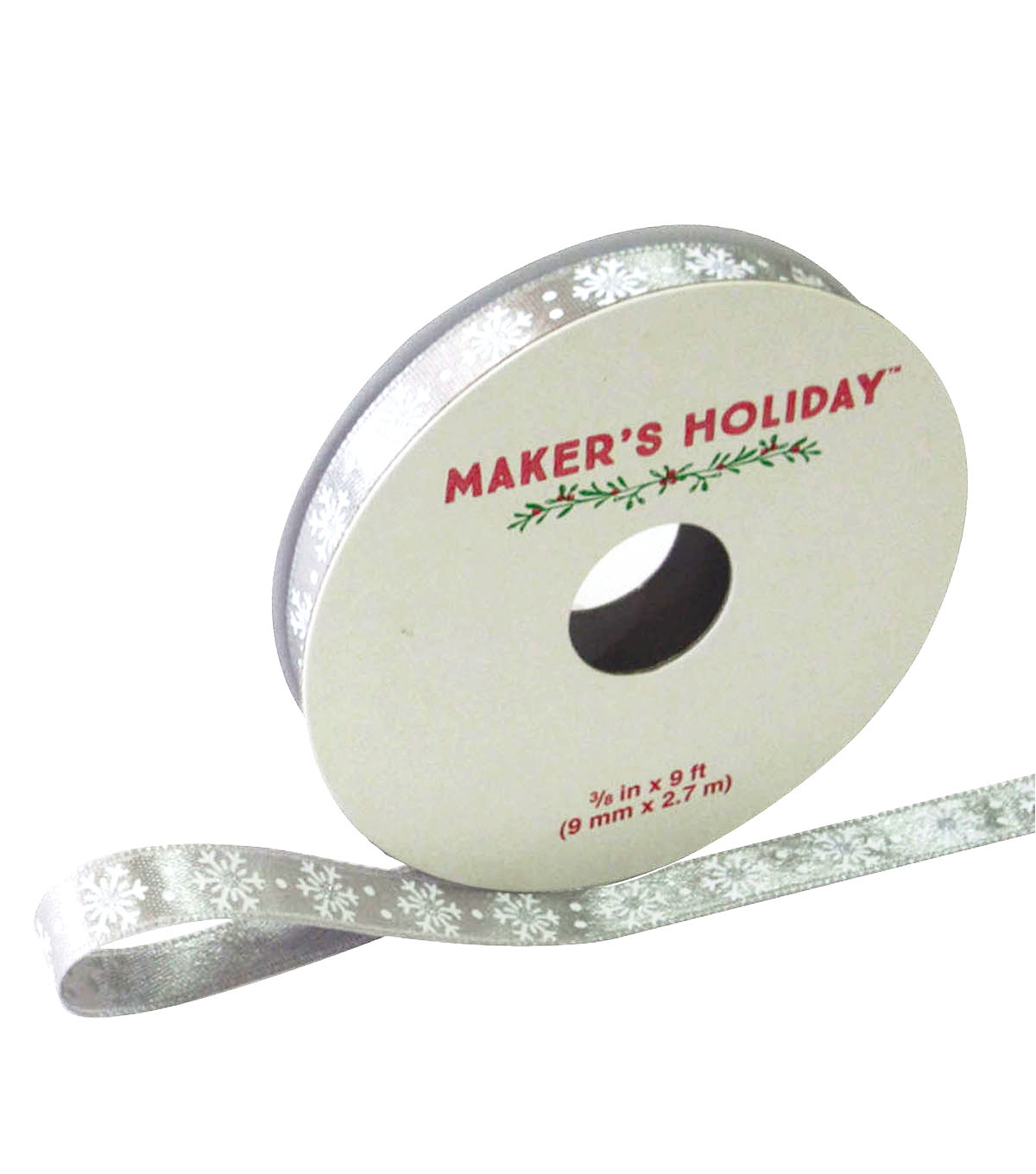 Maker\u0027s Holiday Satin Ribbon 3/8\u0027\u0027x9\u0027-Gray Snowflakes