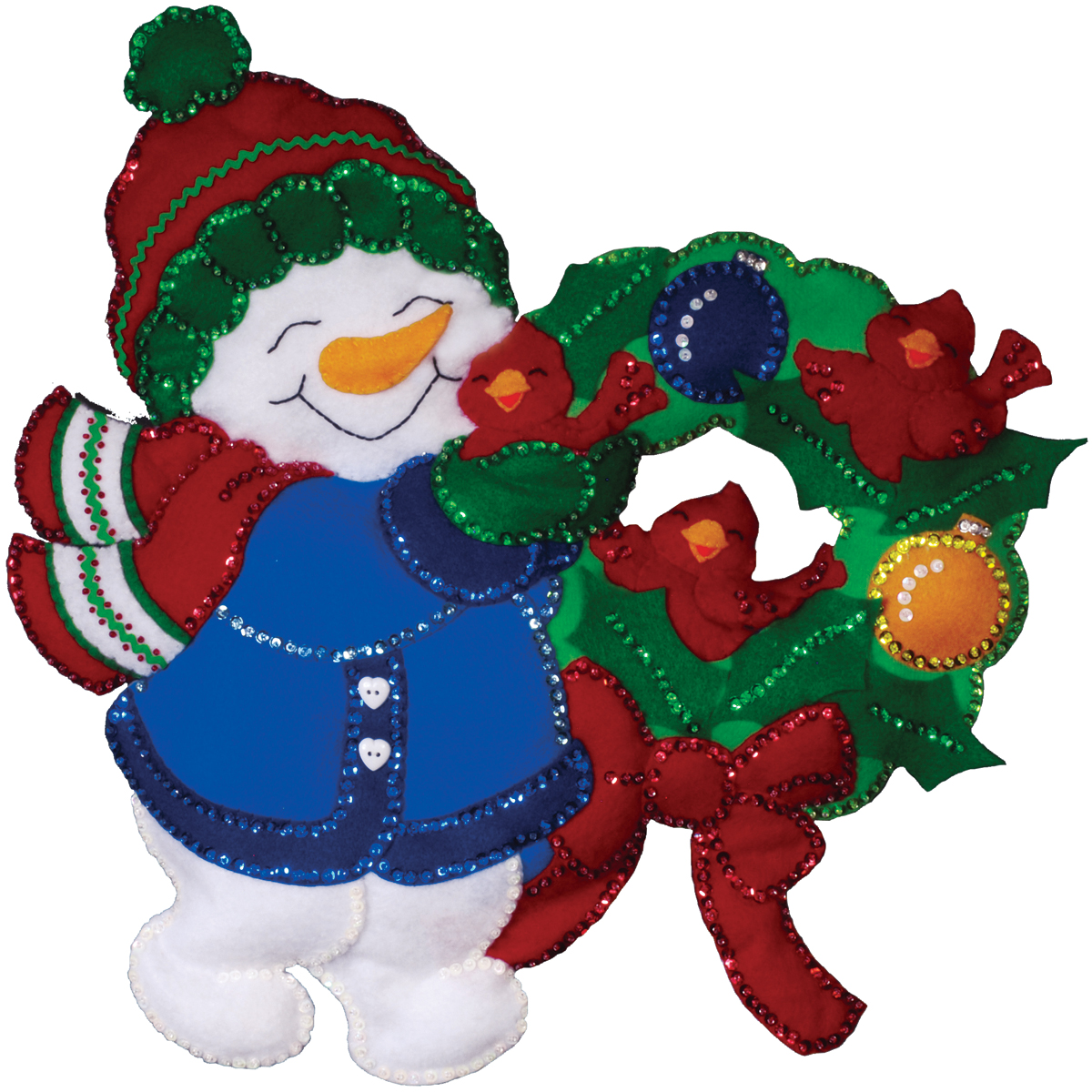 Design Works Wall Hanging Felt Applique Kit Snowman& Cardinals