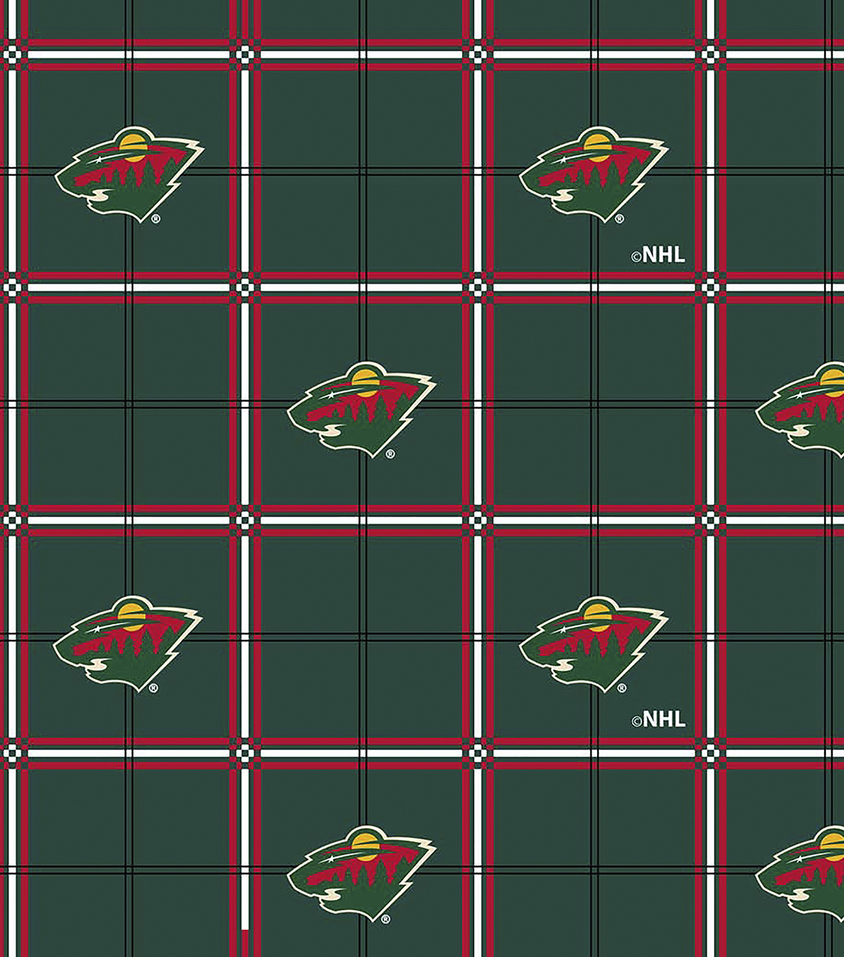 Minnesota Wild Flannel Fabric 44\u0027\u0027-Plaid