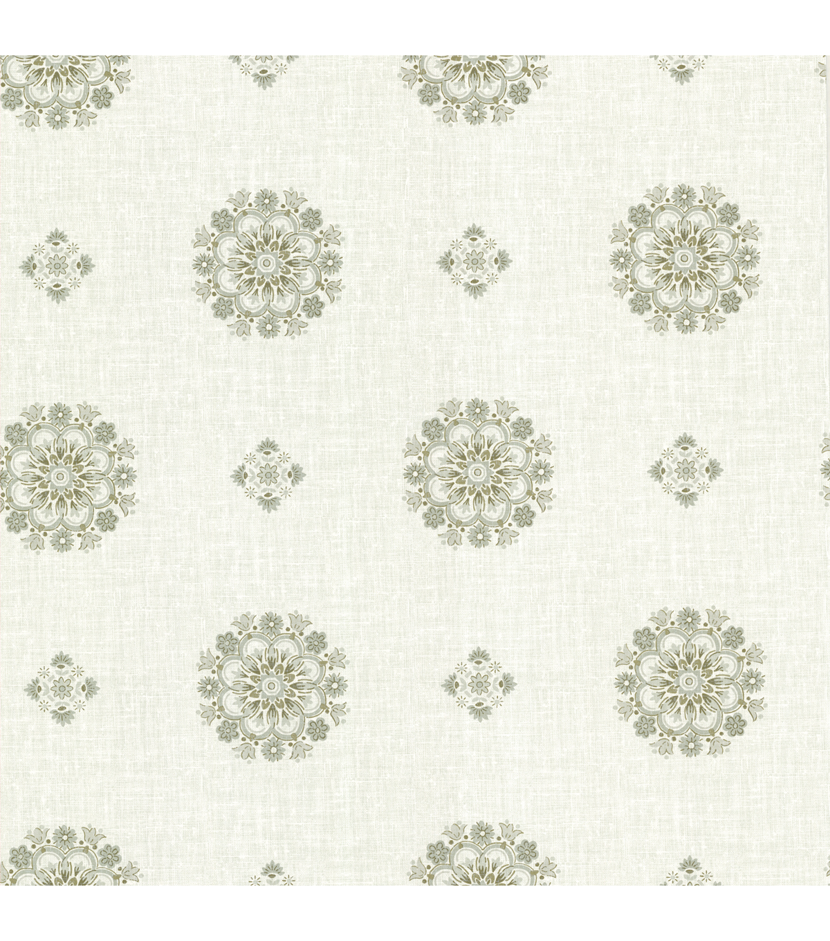 Vintage Green Floral Medallion Wallpaper Sample