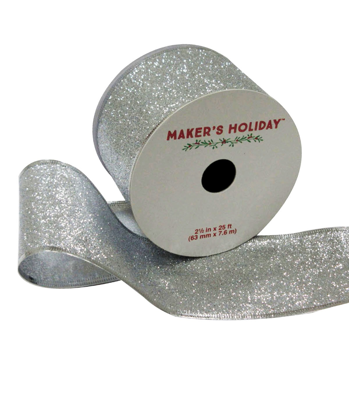 Maker\u0027s Holiday Glitter Ribbon With Edge 2.5\u0027\u0027x25\u0027-Silver