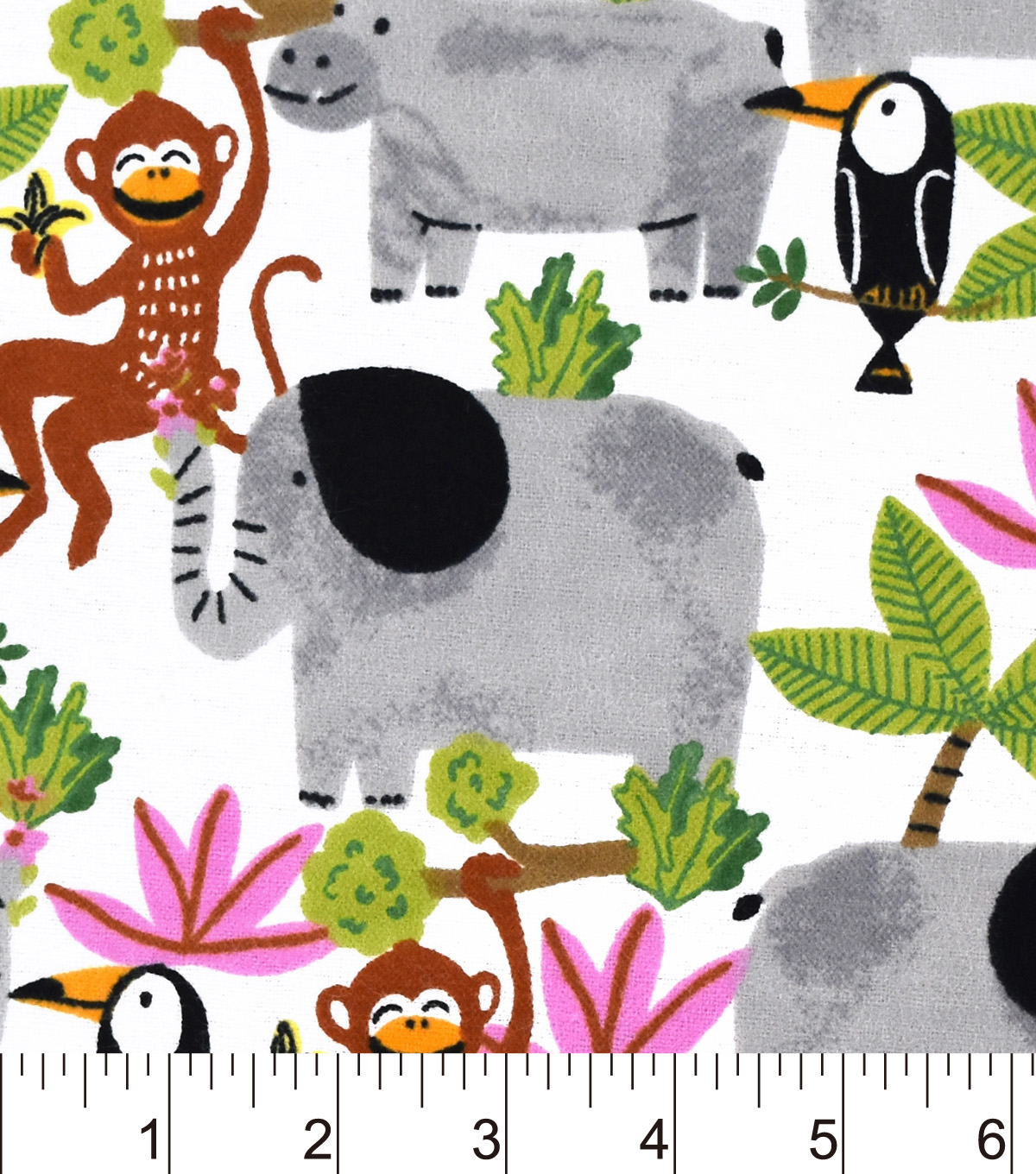 Snuggle Flannel Fabric 42\u0022-Rainforest Friends