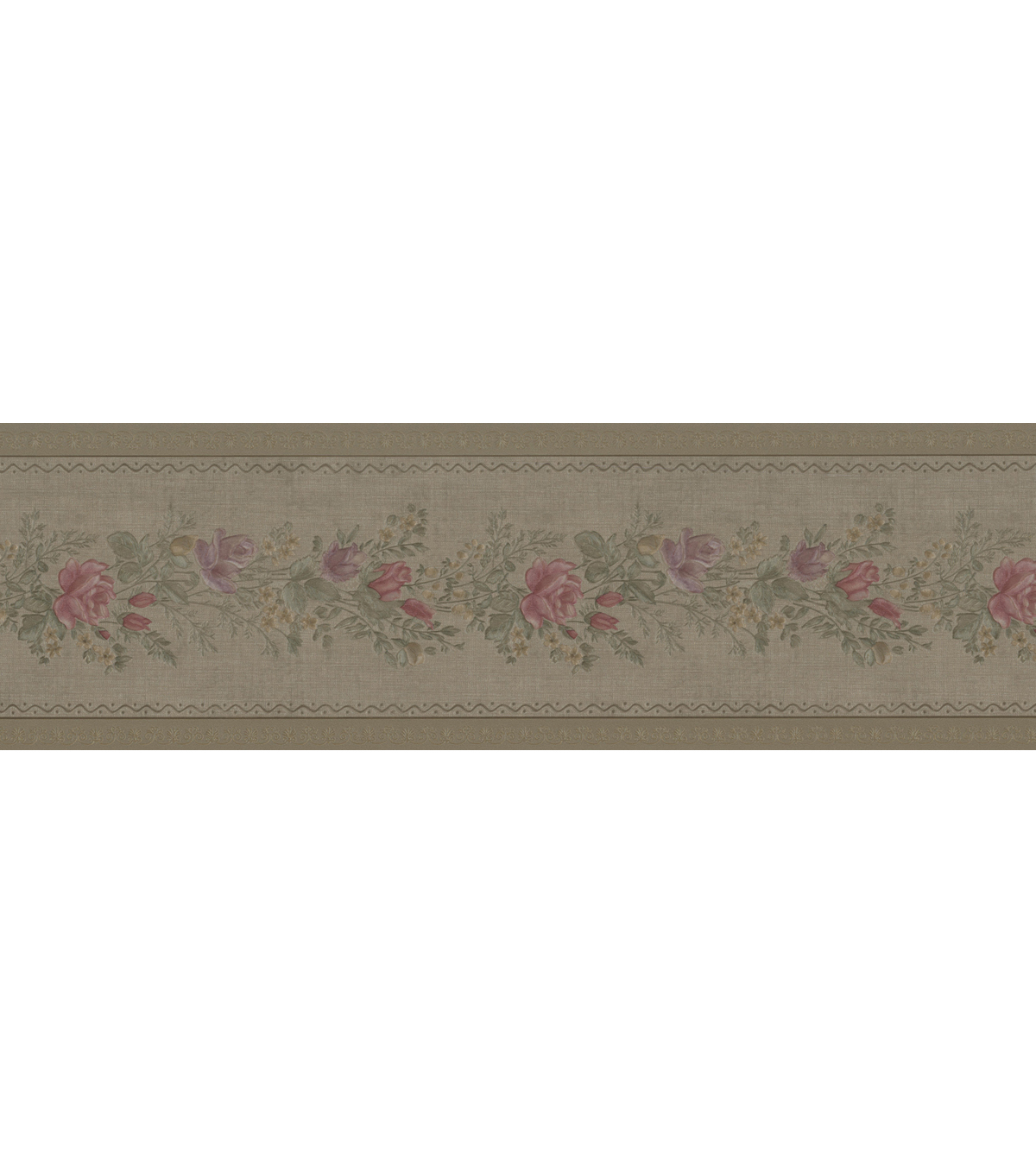 Alexa Olive Floral Meadow Wallpaper Border Sample