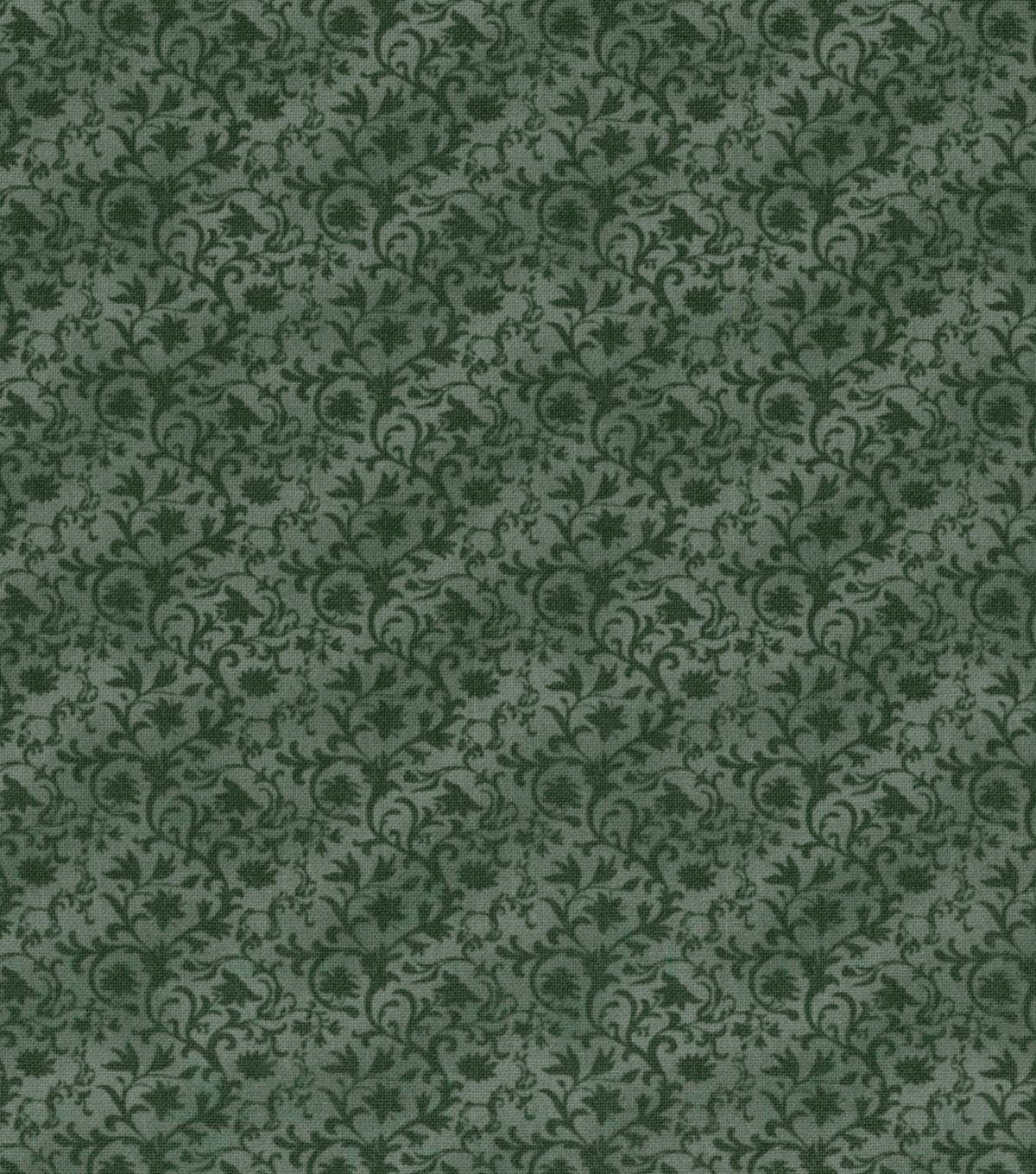Vintage Cotton Fabric 43\u0027\u0027-Gray Tonal Vines
