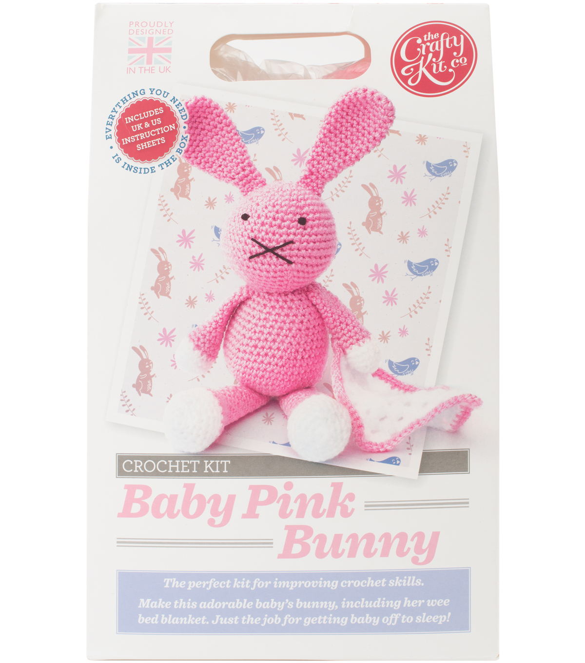 The Crafty Kit Co. Crochet Kit-Baby Pink Bunny