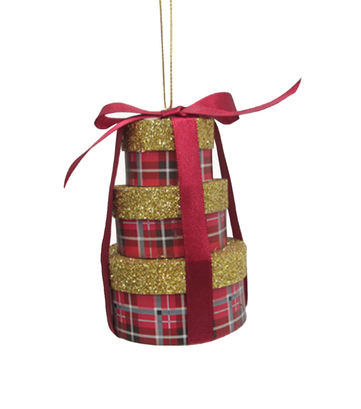 Maker's Holiday Plaid Stacked Boxes Ornament