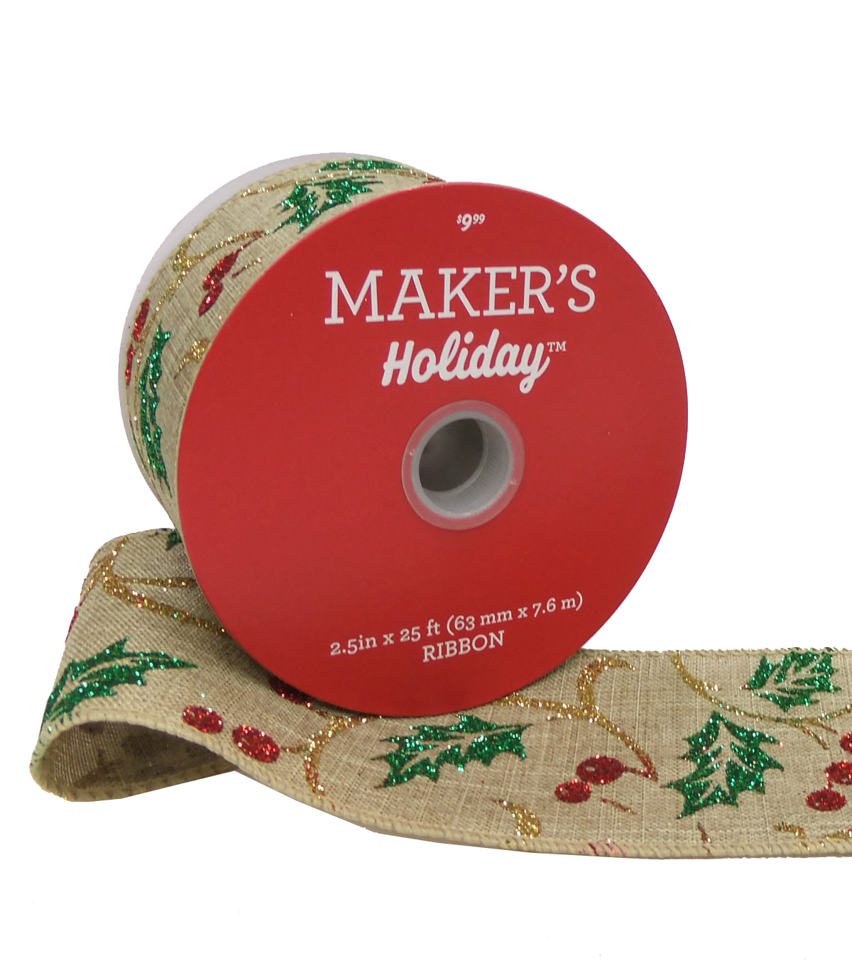 Maker\u0027s Holiday Christmas Burlap Ribbon 2.5\u0027\u0027x25\u0027-Glitter Holly