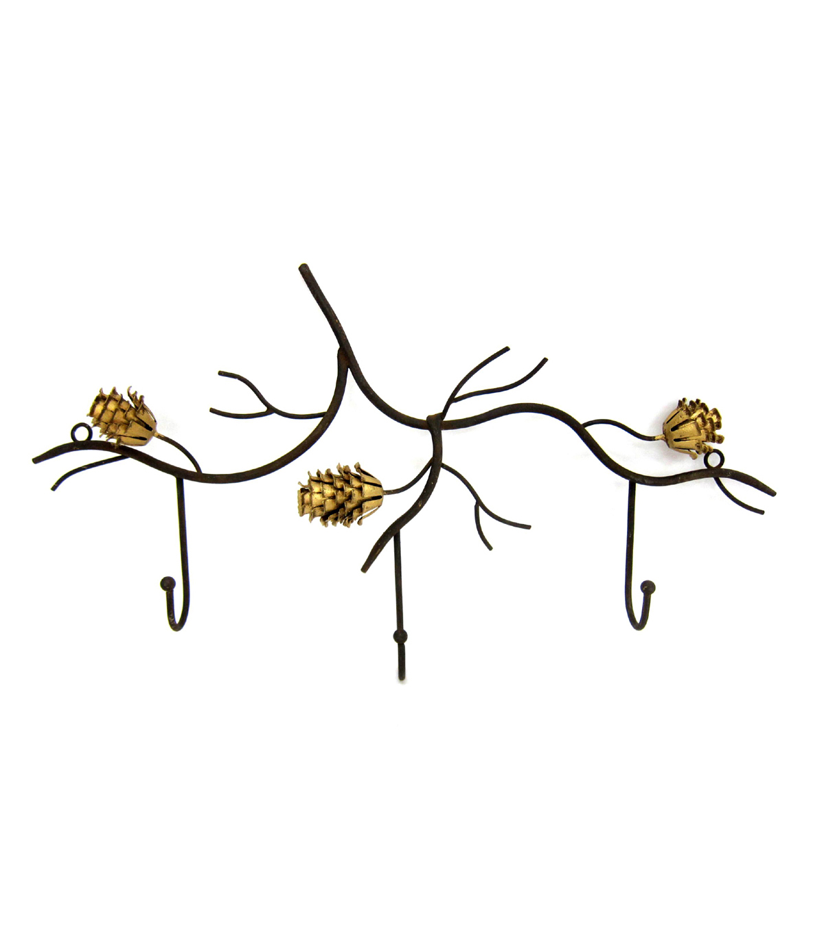 Fall Into Color Metal Triple Wall Hook-Pinecone