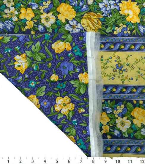 Double Face Quilt Fabric-Blue/Yellow La Fleur   JOANN : quilted fabric joann - Adamdwight.com