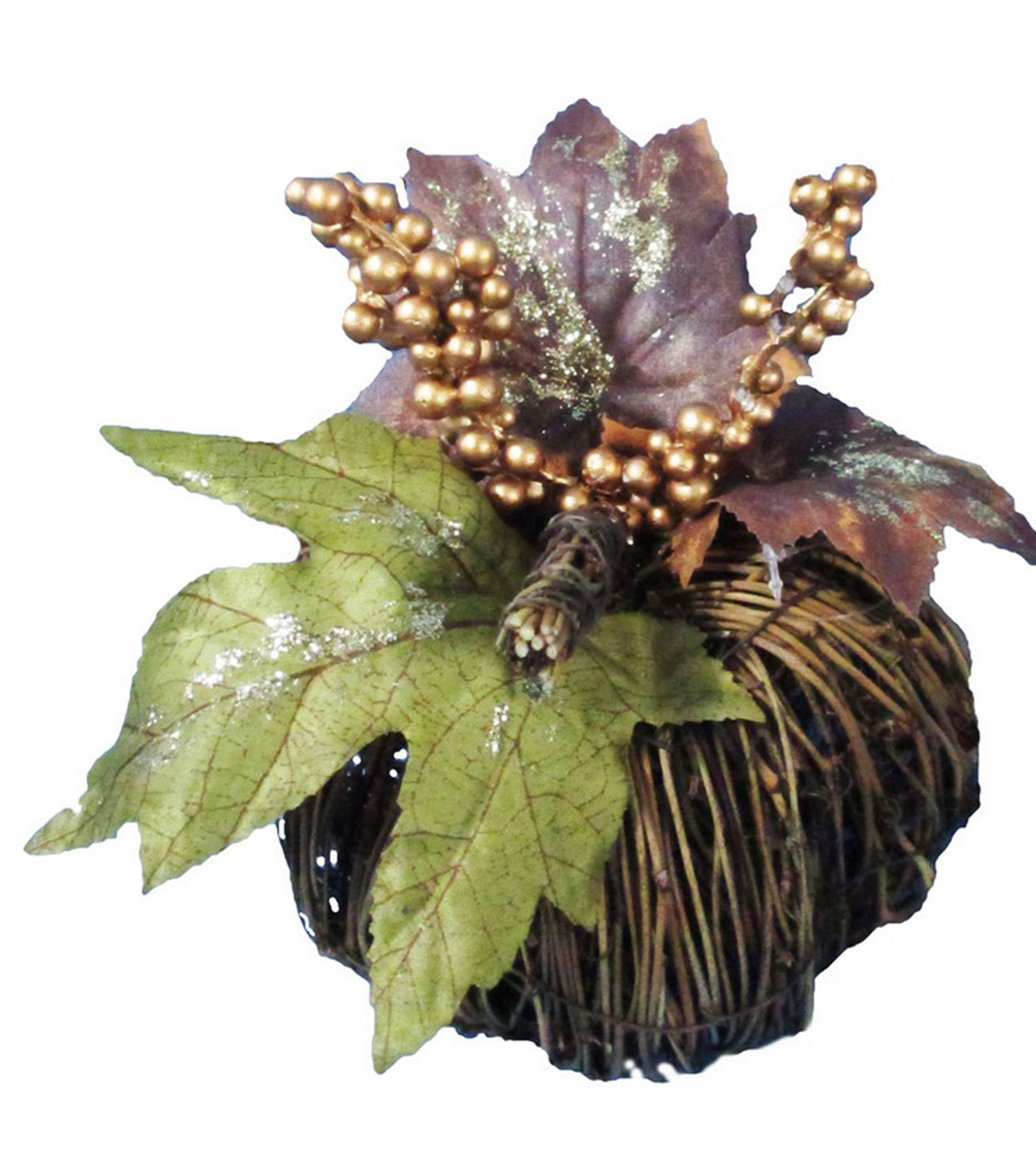 Pumpkin Boutique Medium Rattan Pumpkin with Leaves & Berries