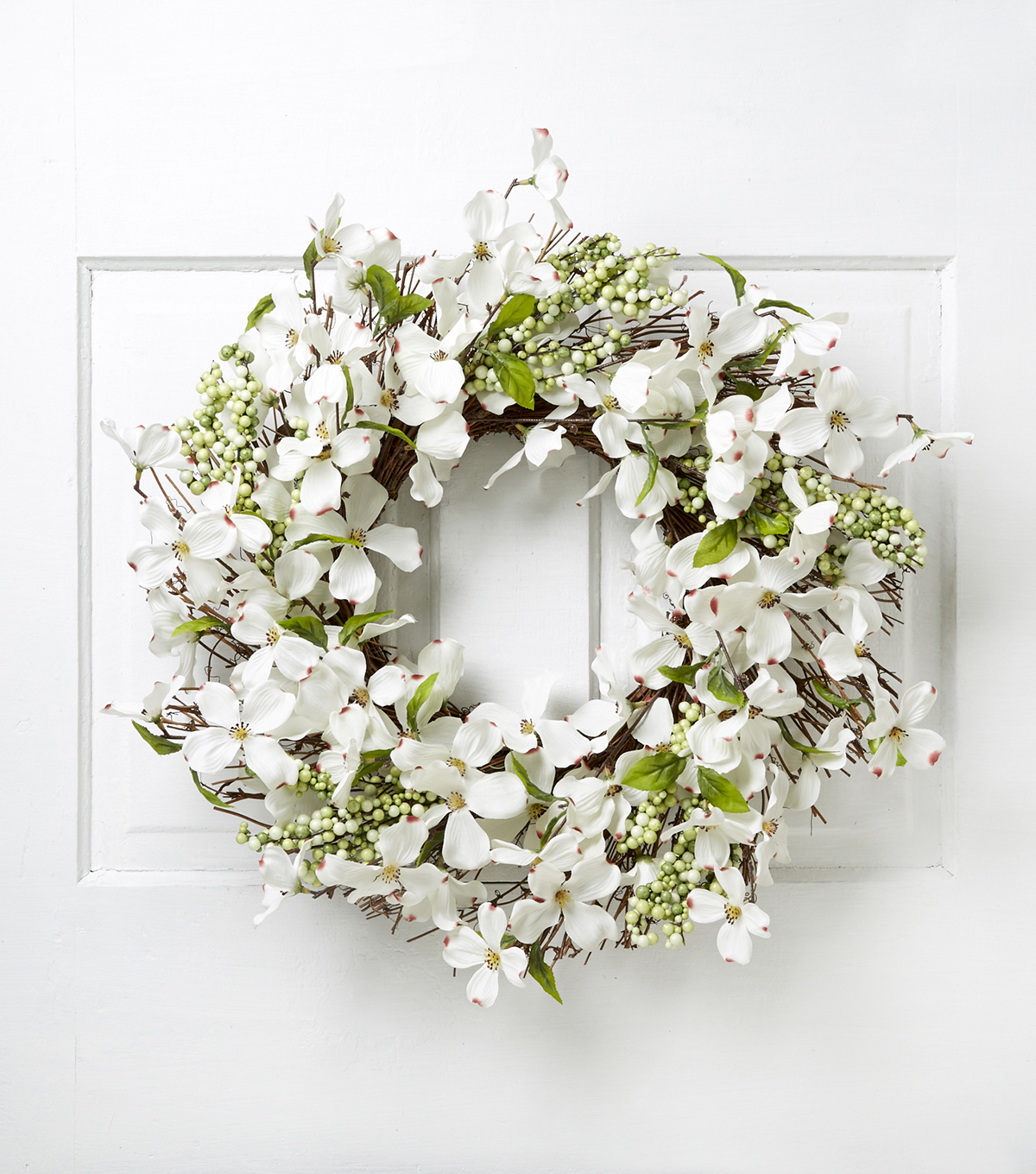 Blooming Spring 22\u0027\u0027 Dogwood Berry Wreath-Cream