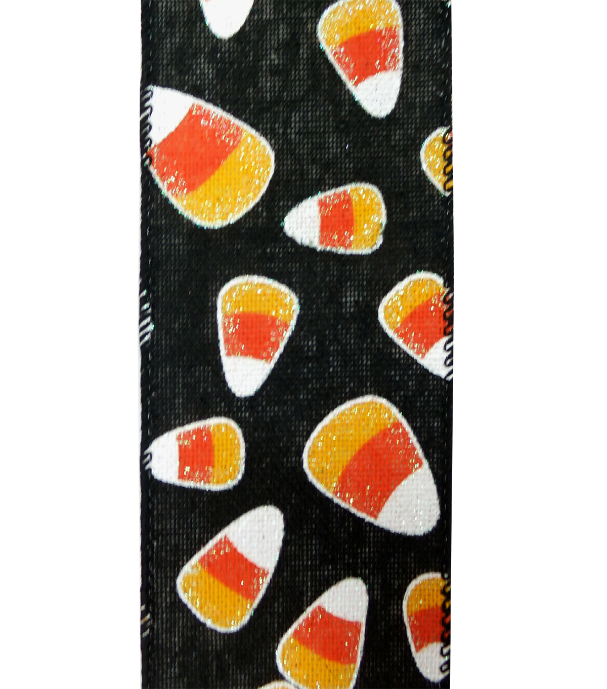 Maker\u0027s Halloween Ribbon 2.5\u0027\u0027x12\u0027-Orange Candy Corn on Black