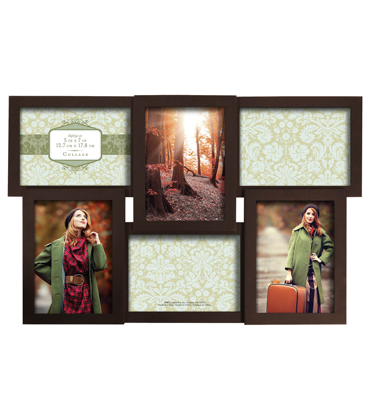 Collage Wall Frame 6 5X7 Openings-Dimensional Walnut