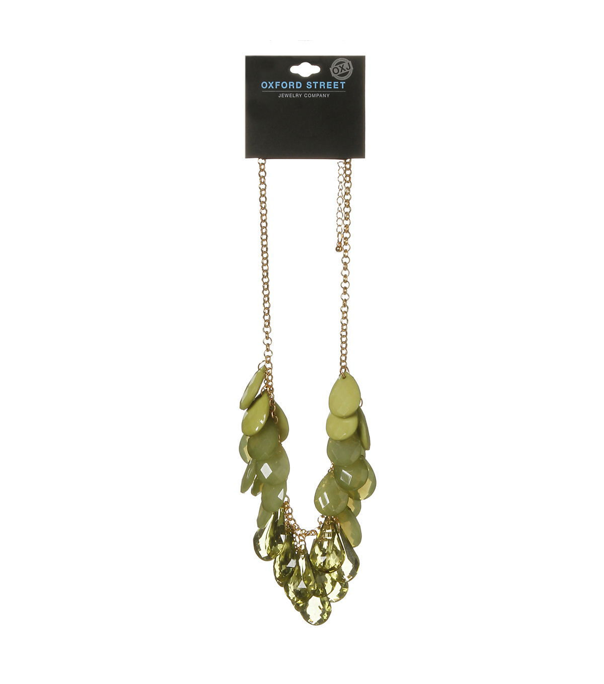 Oxford Street Jewelry Co. Olive Tear Drop Necklace w/Gold Chain