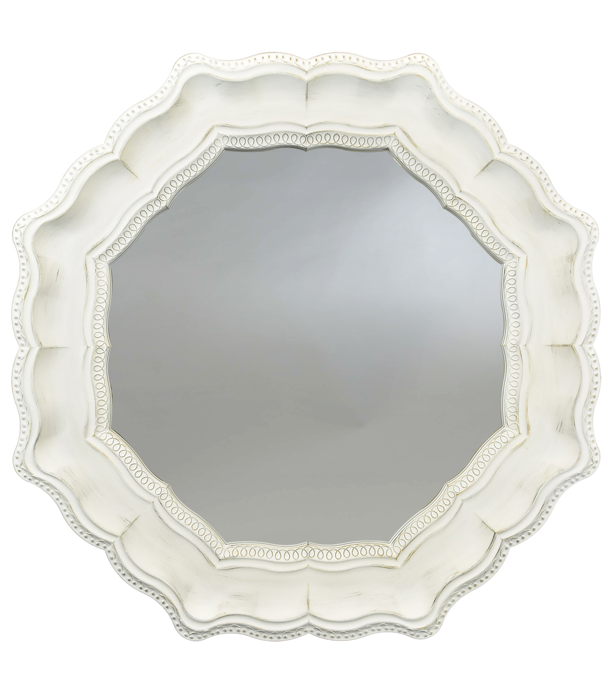 Hudson 43 Farm 26''x26'' Farmhouse Octagon Mirror-Ivory