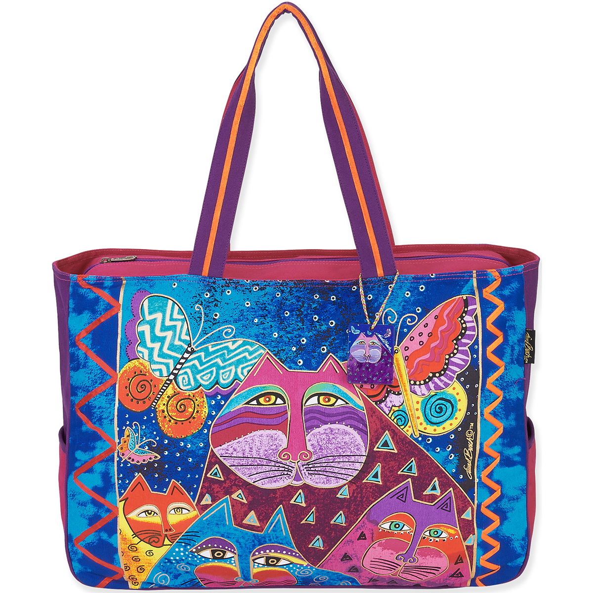 Laurel Burch Tote- Medium Tote 15\u0022X4\u0022X10\u0022 Cats With Butterflies