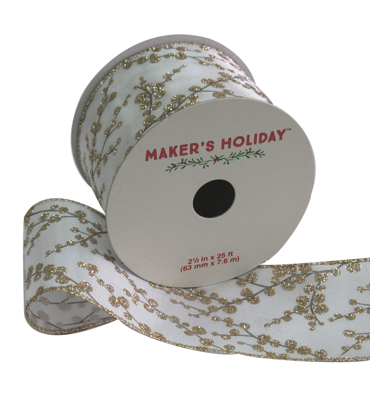 Maker\u0027s Holiday Satin Ribbon With Glitter 2.5\u0027\u0027x25\u0027-Champagne