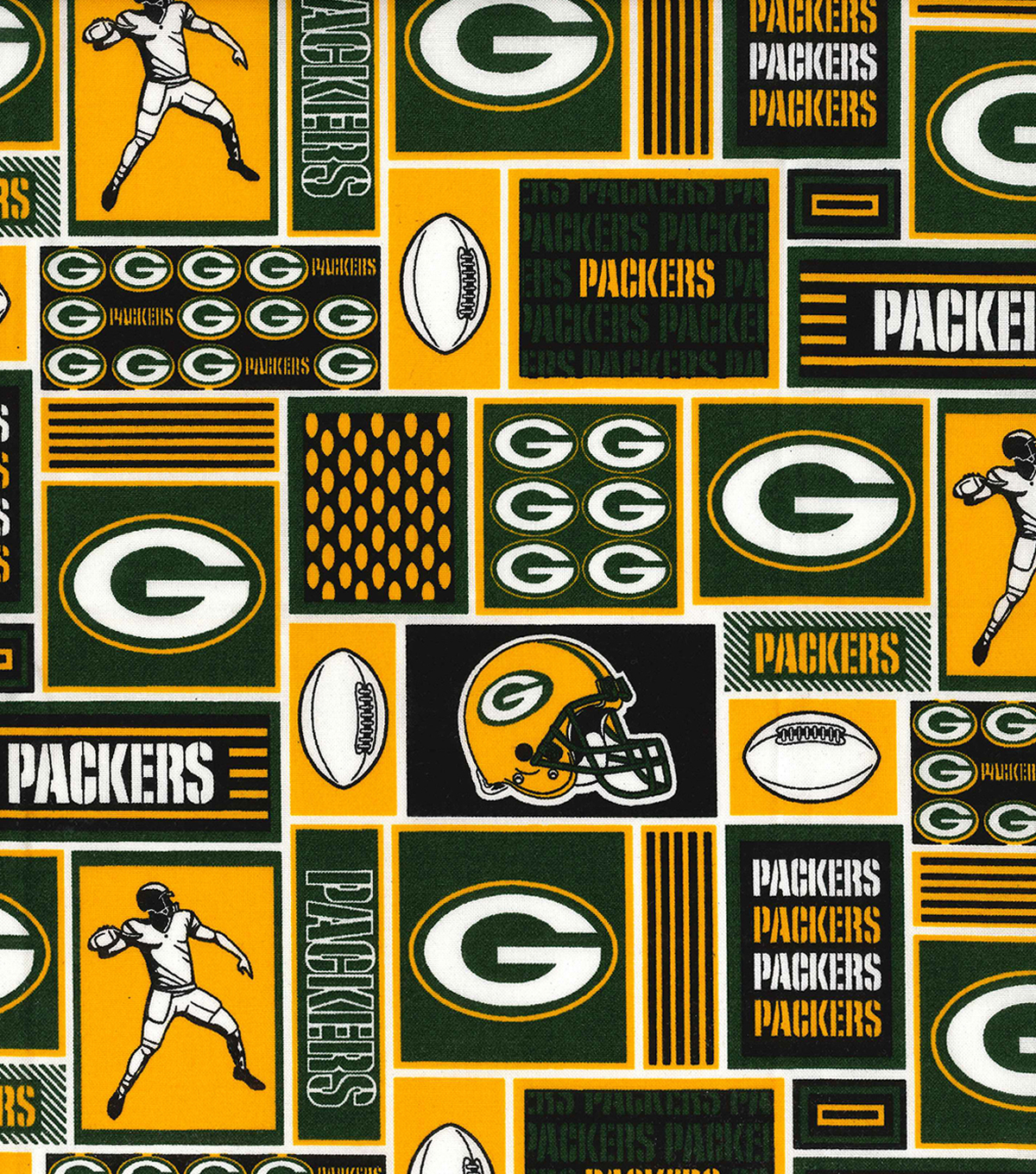 "Green Bay Packers Cotton Fabric 58""-Block"