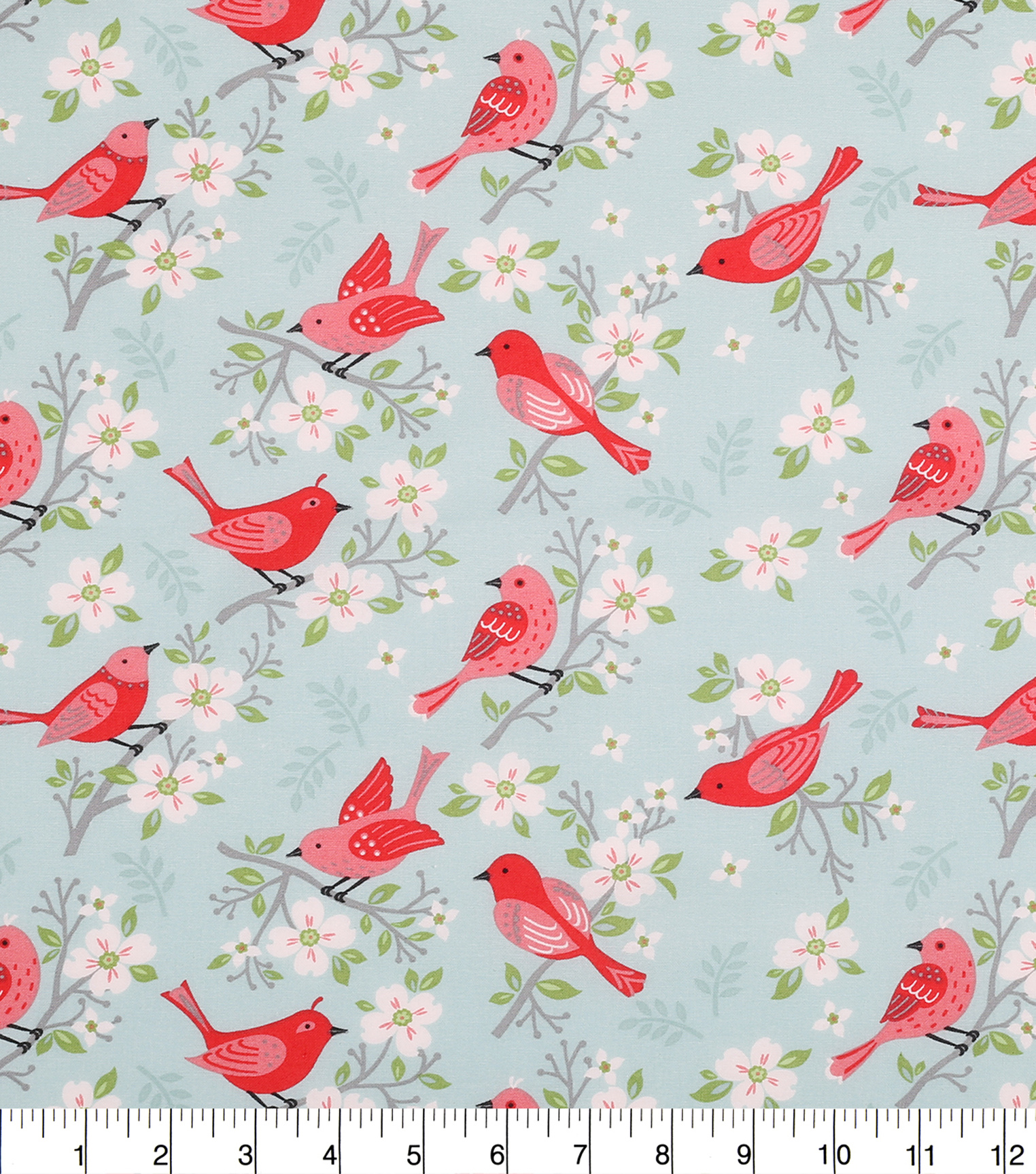 "Novelty Cotton Fabric 43""-Birds On Cherry Blossoms"