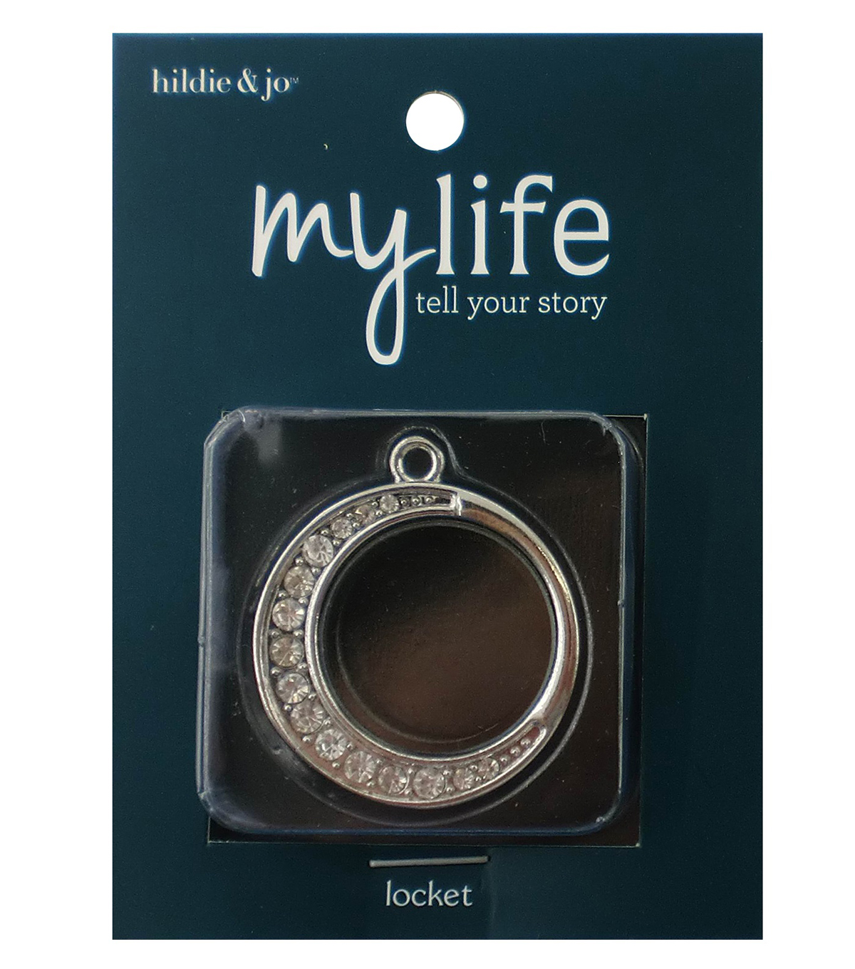 hildie & jo™ My Life Round Moon Silver Locket-Clear Crystals