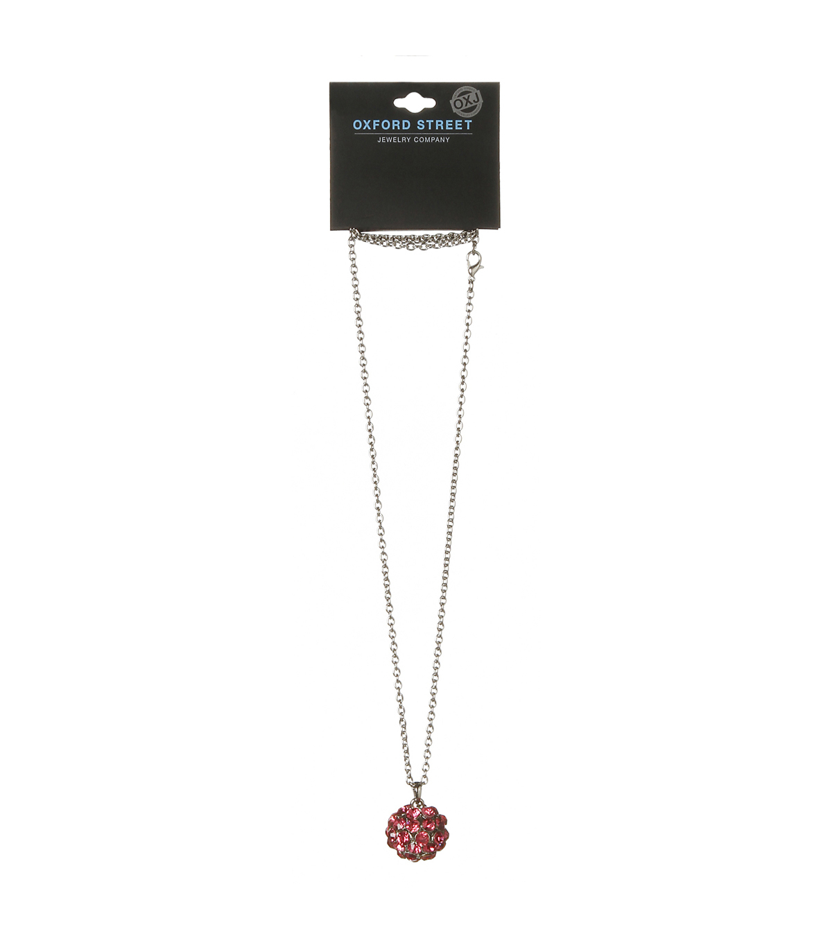 Oxford Street Jewelry Co. Rose Stone Ball Pendant Necklace