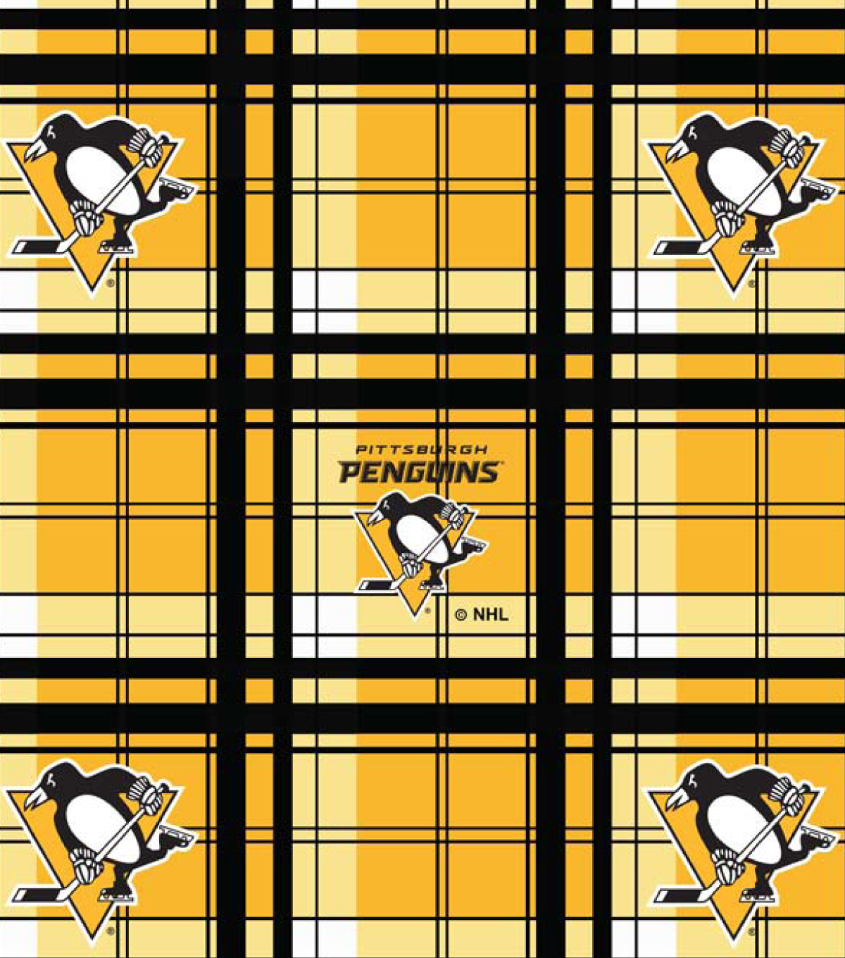"Pittsburgh Penguins Fleece Fabric 60""-Plaid"