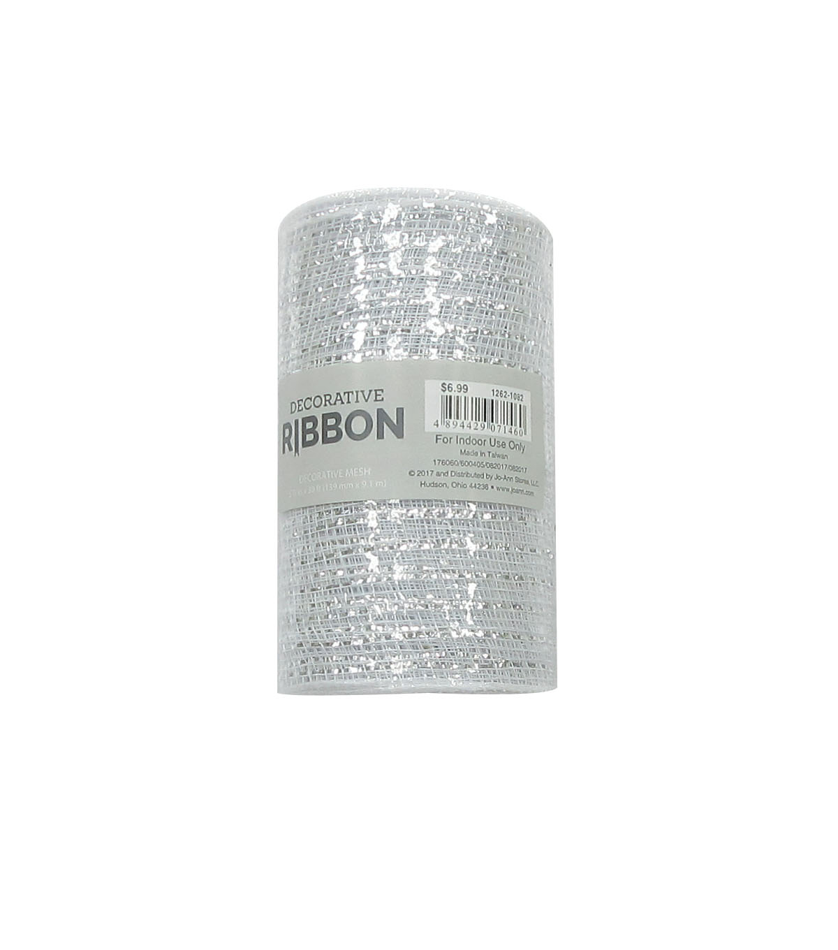 Decorative Ribbon Metallic Deco Mesh 5.5\u0027\u0027x10 yds-White & Silver