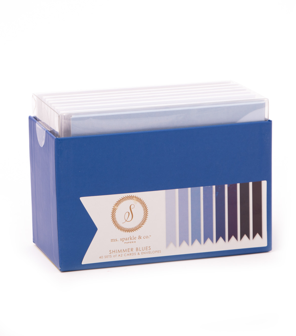 Ms. Sparkle & Co. Pack of 40 A2 Cards & Envelopes-Shimmer Blues