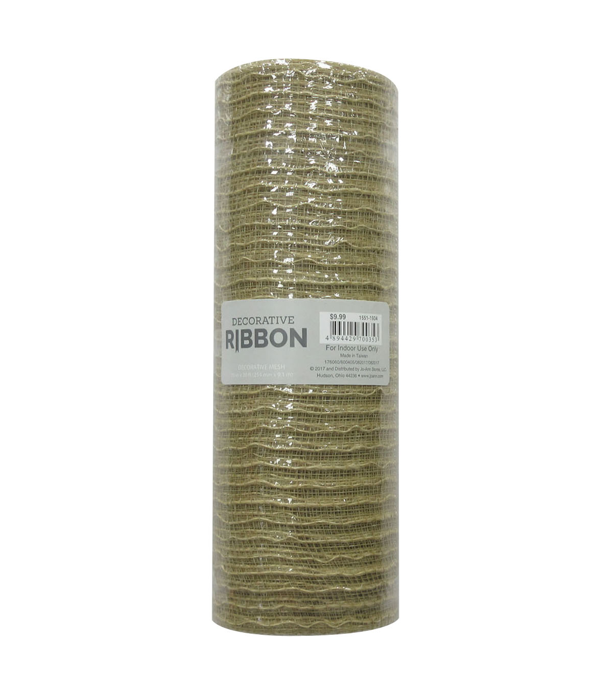 Decorative Ribbon Metallic Deco Mesh 10\u0027\u0027x10 yds-Natural Jute