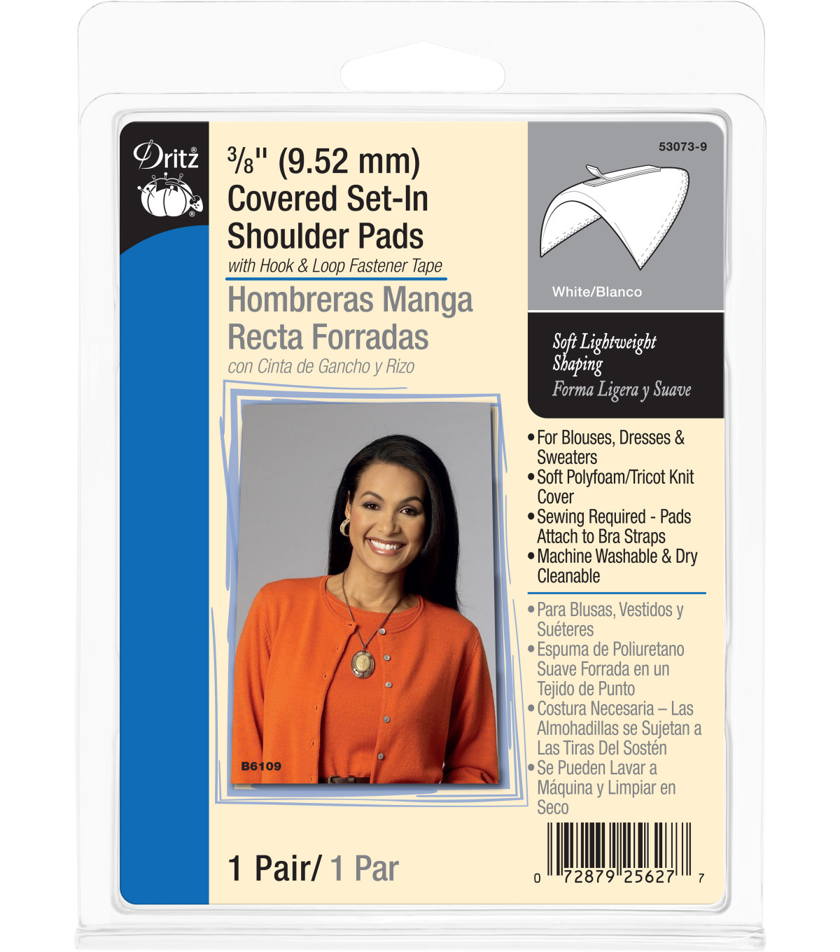 Dritz 0.38\u0022 Covered Set In Shoulder Pads White
