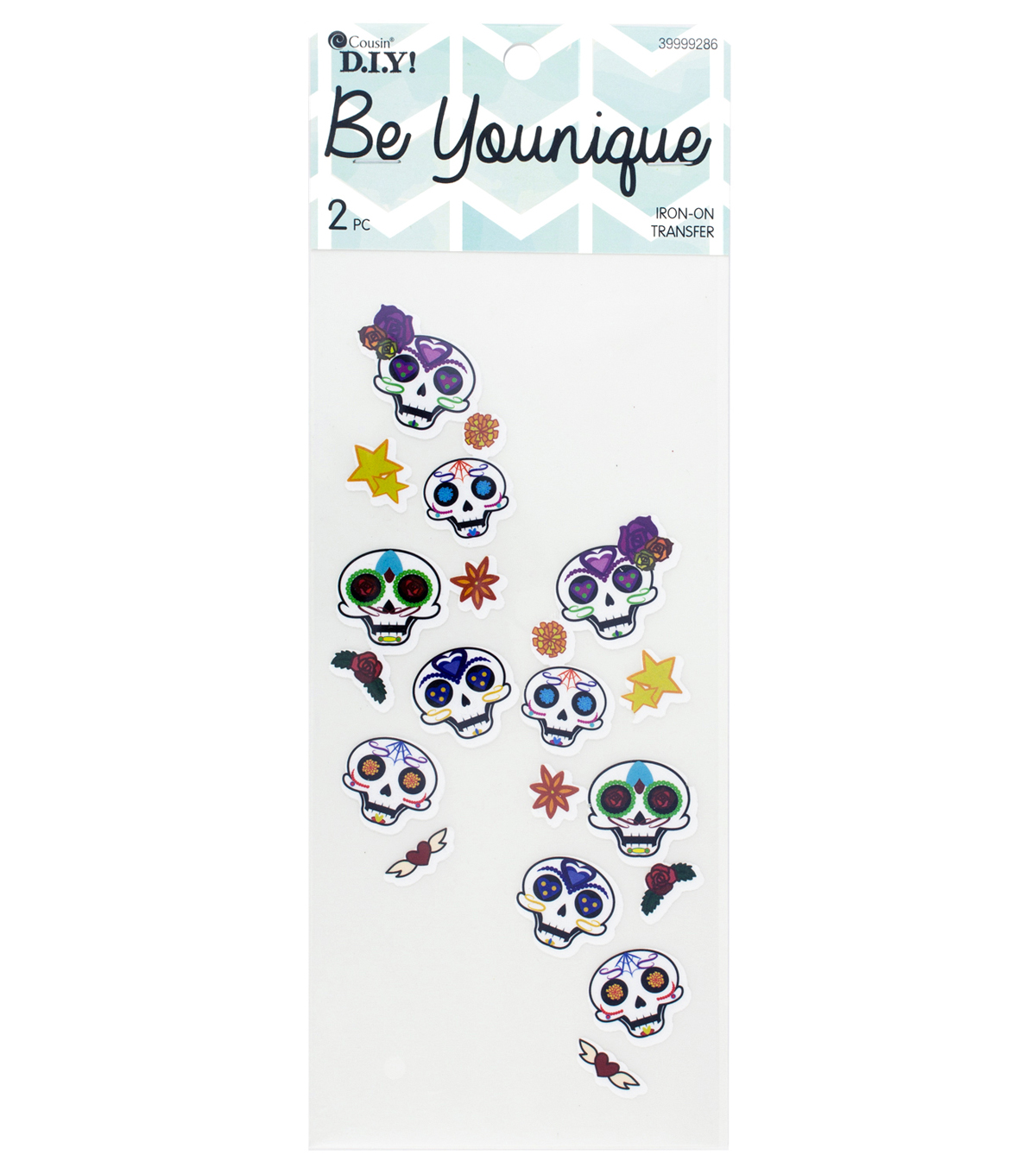 Cousin® DIY Be Younique 2 Pack Sleeve Iron-On Transfer-Sugar Skulls