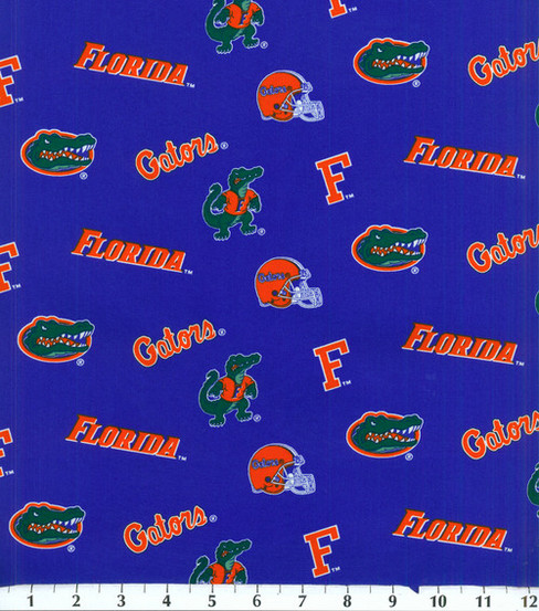 "University of Florida Gators Cotton Fabric 43""-Blue"