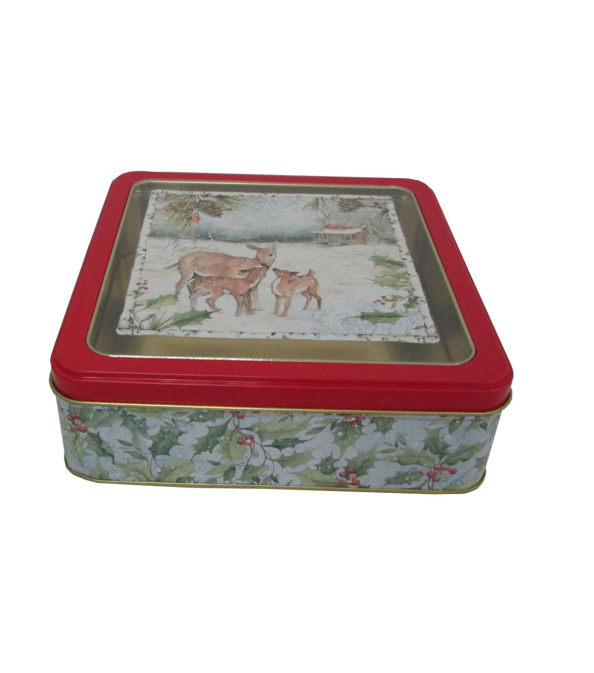 Maker\u0027s Holiday Christmas Medium Square Clear Top Cookie Tin-Deer