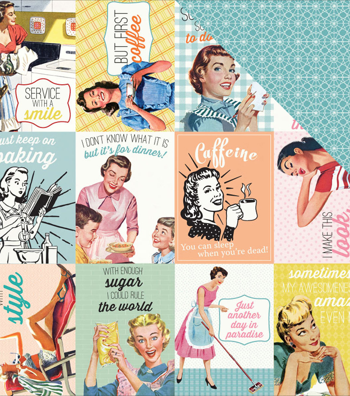 Saucy Double-Sided Cardstock 12\u0022X12\u0022-#8 Cut-Apart 3\u0022X4\u0022 Vintage Cards