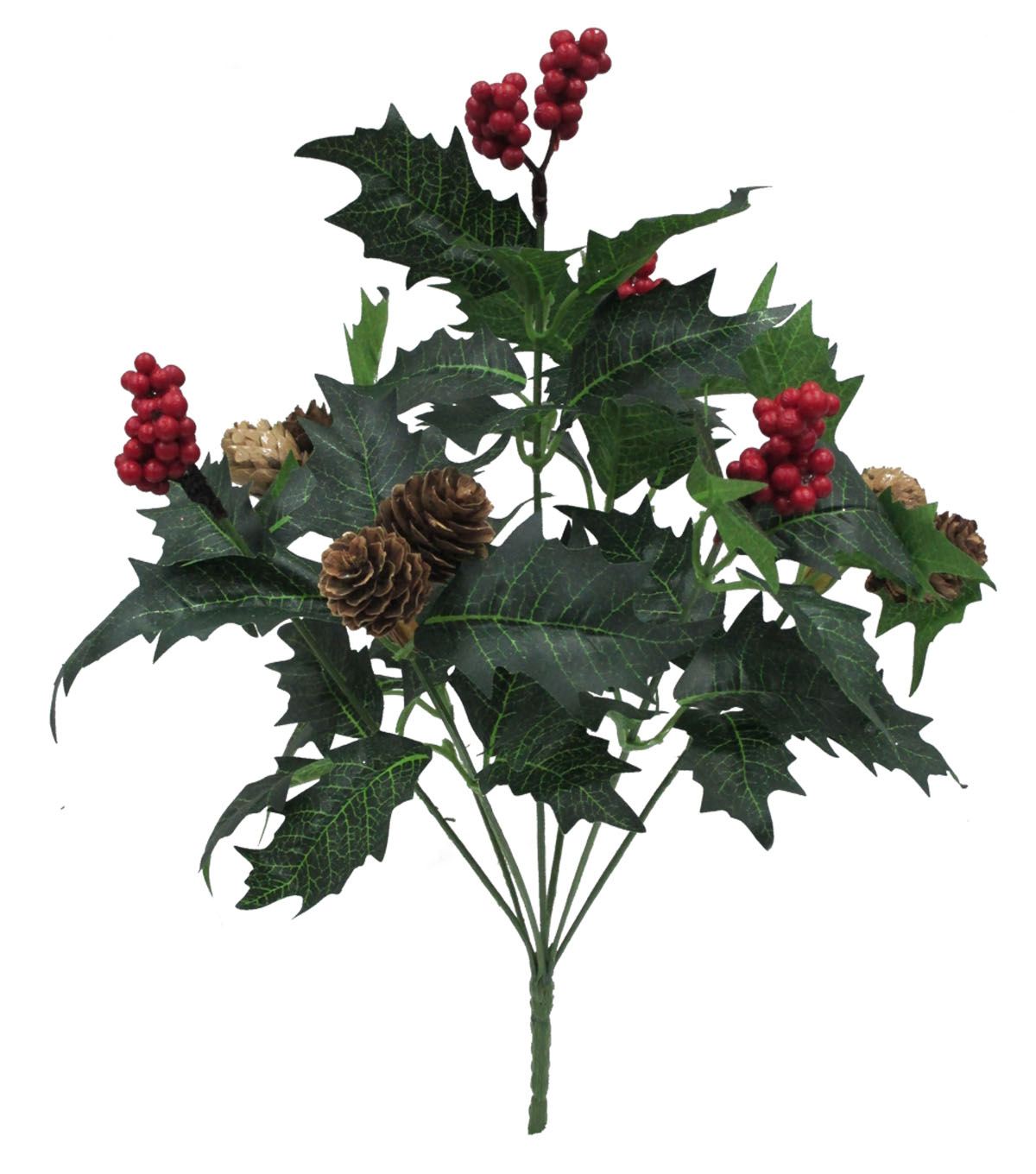 Blooming Holiday 14\u0027\u0027 Berry, Pinecone & Leaves Bush-Red & Green