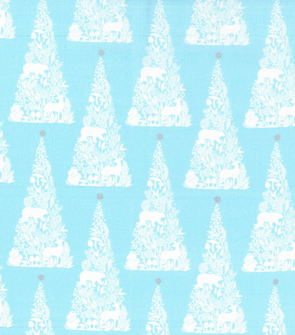 Christmas Cotton Fabric 43\u0022-Metallic Animals & Trees