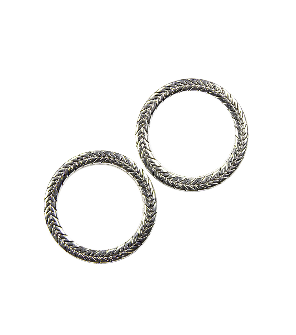 Blue Moon Findings Connector Metal 25mm Textured Antique Silver